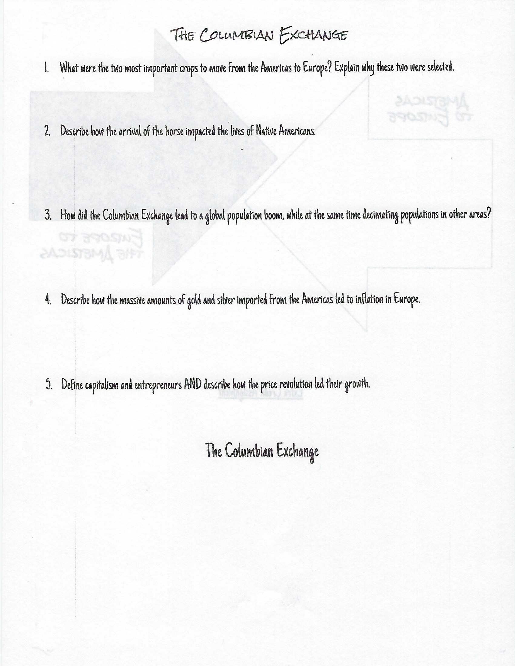 worksheet The Columbian Exchange And Global Trade Worksheet student resources mr twichells site assignment 36 columbian exchange side 1